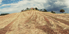 Photograph of the Podere Paníco project site in Tuscany sliding into view.